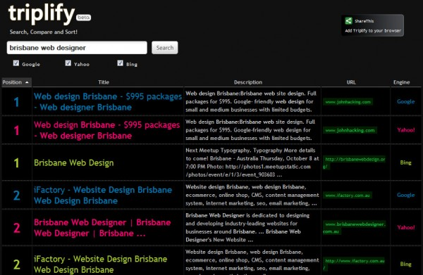 "The first 6 results in a Triplify search for ""brisbane web designer"""